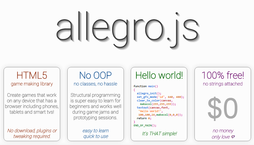 allegro js - a HTML5 game making library